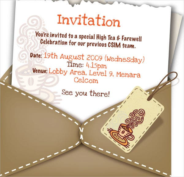 team lunch invitation message