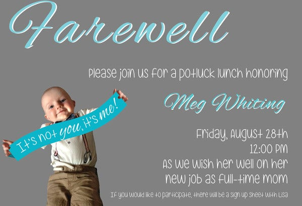 Farewell Invitation Template  Free Sample Example Format