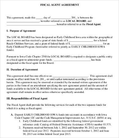 Fiscal Agent Agreement Template  Agent Agreement Template Free