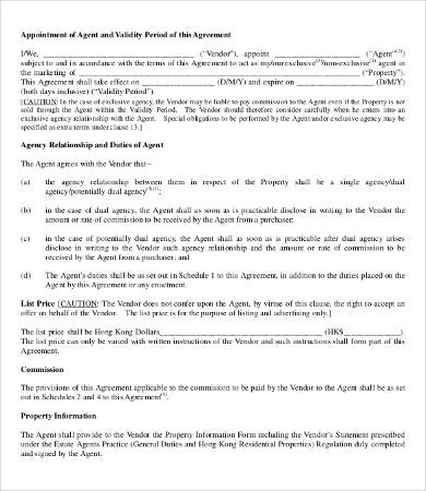 Real Estate Agent Agreement Template  Agent Agreement Template Free