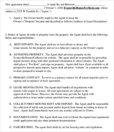 rental agent agreement template - Leasing Agent Duties