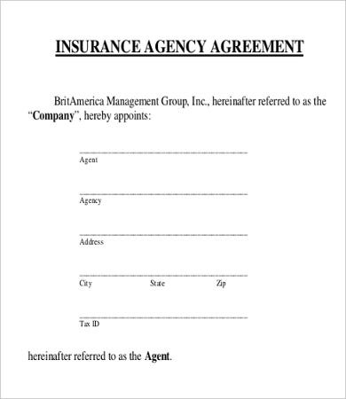insurance agent agreement template