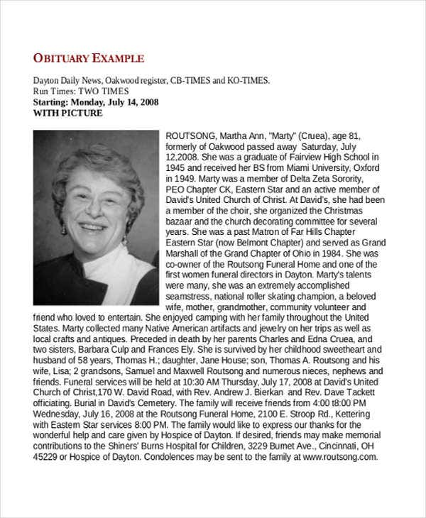 Obituary samples free premium templates for Template for writing an obituary