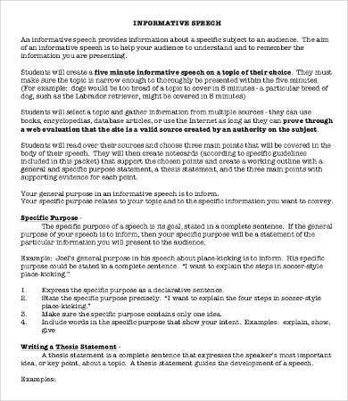 Informative Essay   Free Samples Examples Format Download  Informative Speech Essay Sample