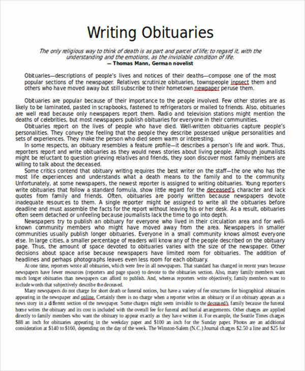 obituary writing How to write an obituary or eulogy, plus why and how to write your own obituary sample obituaries and the best obits: interesting, funny, moving and memorable.
