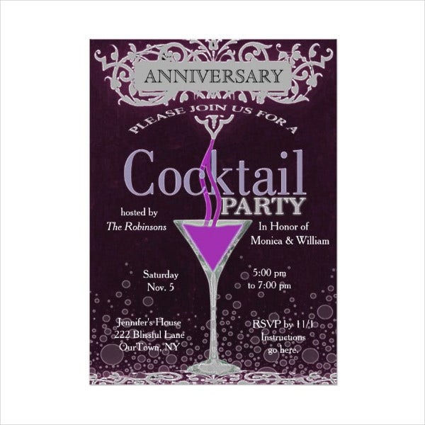 Anniversary Cocktail Party Invitation