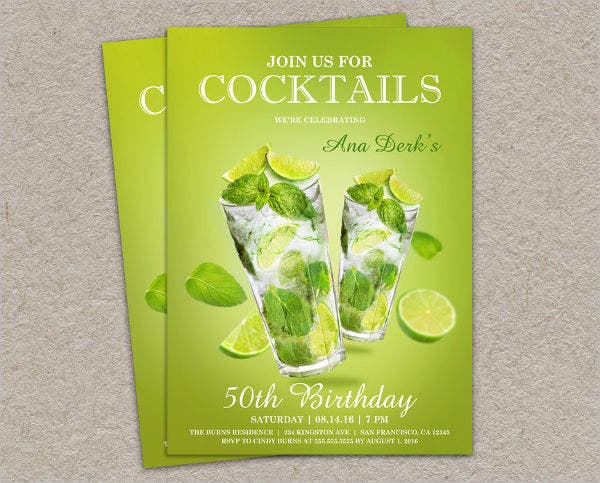 Cocktail Birthday Party Invitation