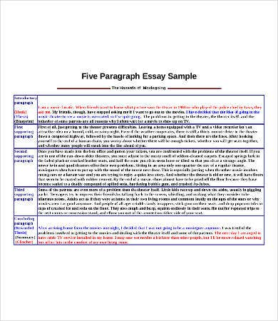 Sample of 5 paragraph essay
