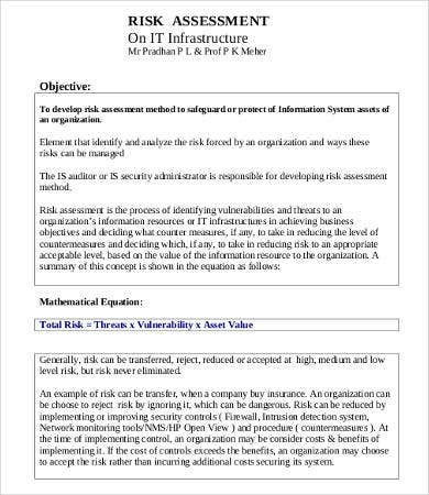 Risk Assessment Form Sample Risk Assessment Template How To Create