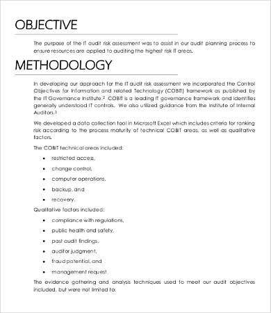 It Risk Assessment Template   Free Word  Documents