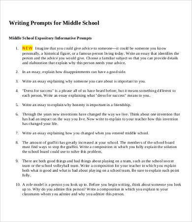Sample essays middle school