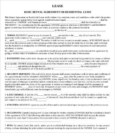 private rental lease agreement template