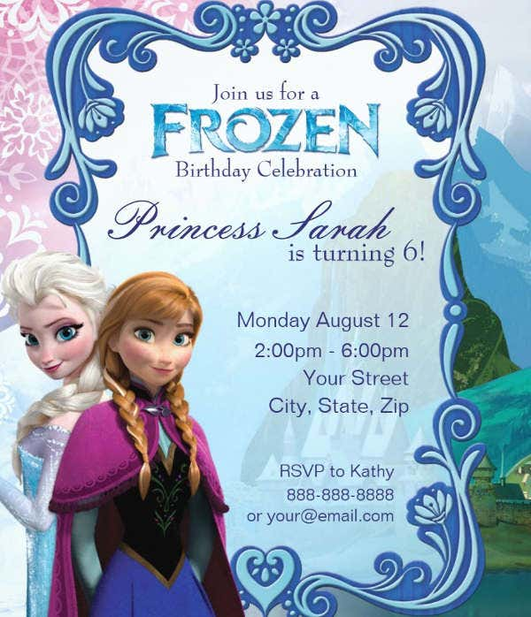 graphic regarding Frozen Birthday Card Printable named 13+ Frozen Invitation Templates - Phrase, PSD, AI Absolutely free