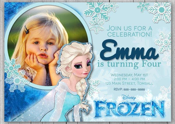 Frozen Thank You Card Invitation