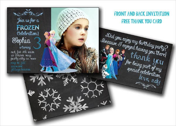 Chalkboard Frozen Birthday Invitation