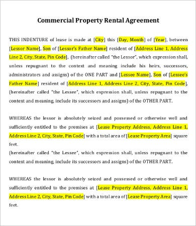 private property lease agreement template