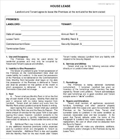 private house lease agreement template