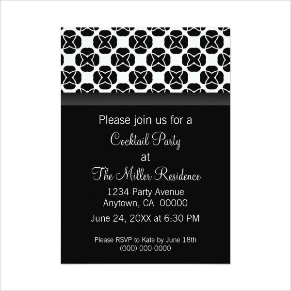Black and White cocktail Party Invitation
