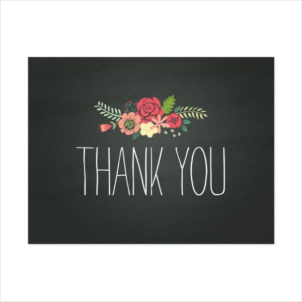 Printable Chalkboard Thank You Card
