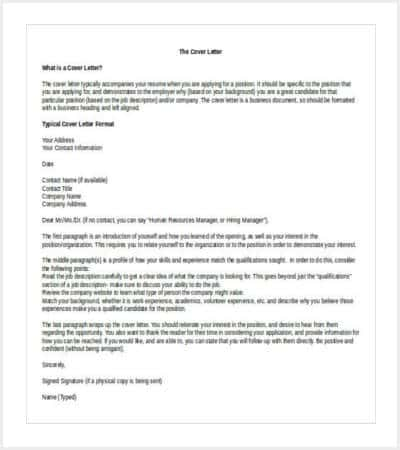 resume cover letter free word template download