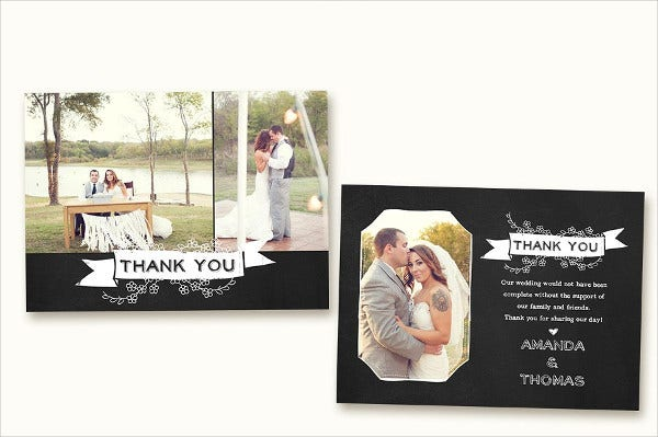 Photo Chalkboard Thank You Card