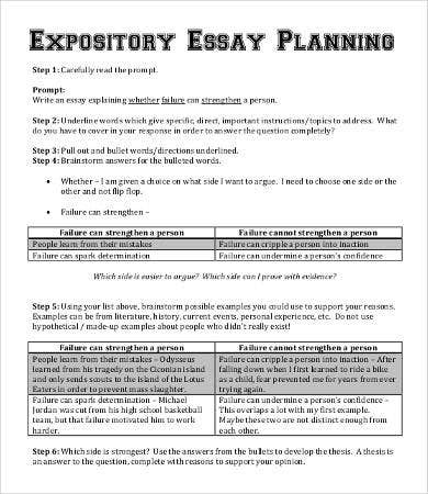 Expository Essay Planning Template