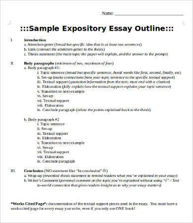 write an outline for an expository essay