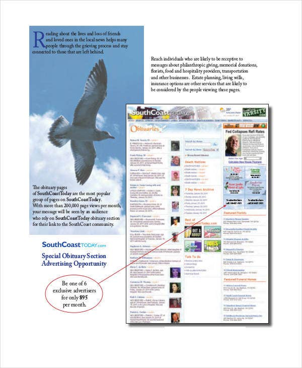 obituary advertisement sample