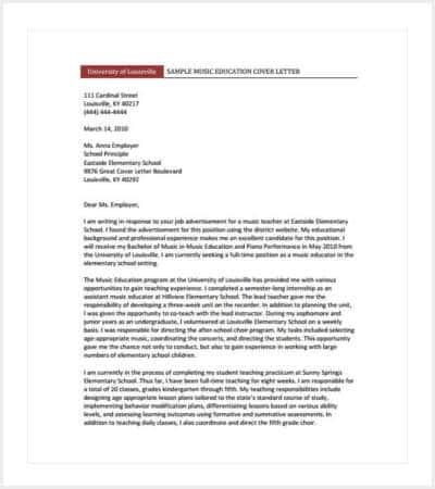 teaching cover letter format