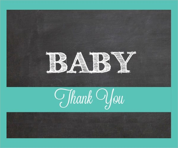 Chalkboard Baby Shower Thank You Card