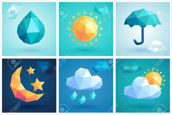 Set of Weather Geometric Icons