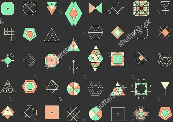 set of minimal geometric icon