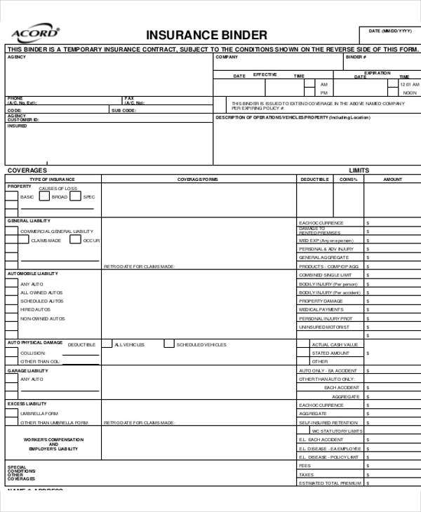 insurance property binder template  6 Acord Forms | Free