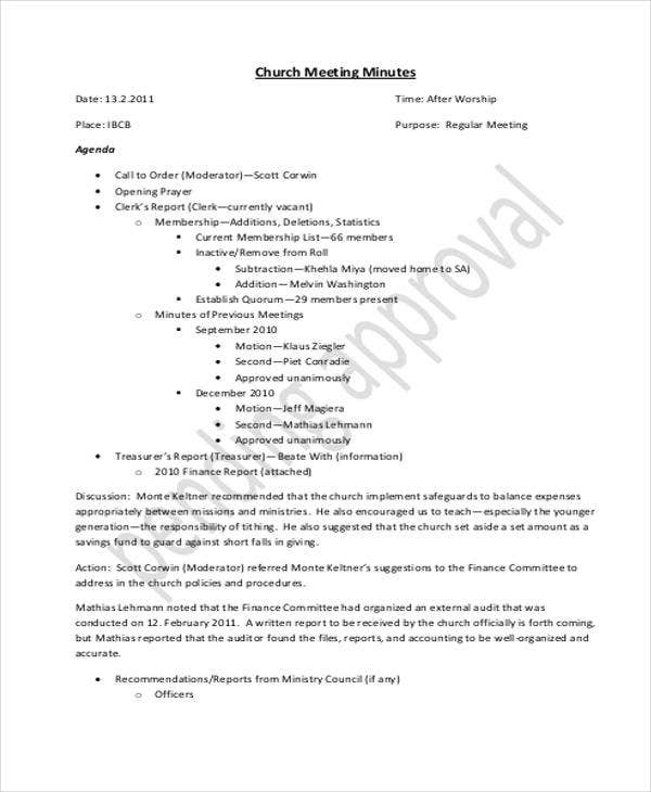church board meeting minutes template1