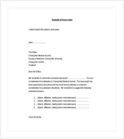 medical journal cover letter word template min
