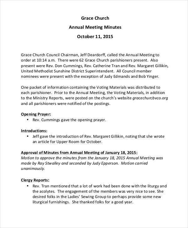 church annual meeting minutes template1