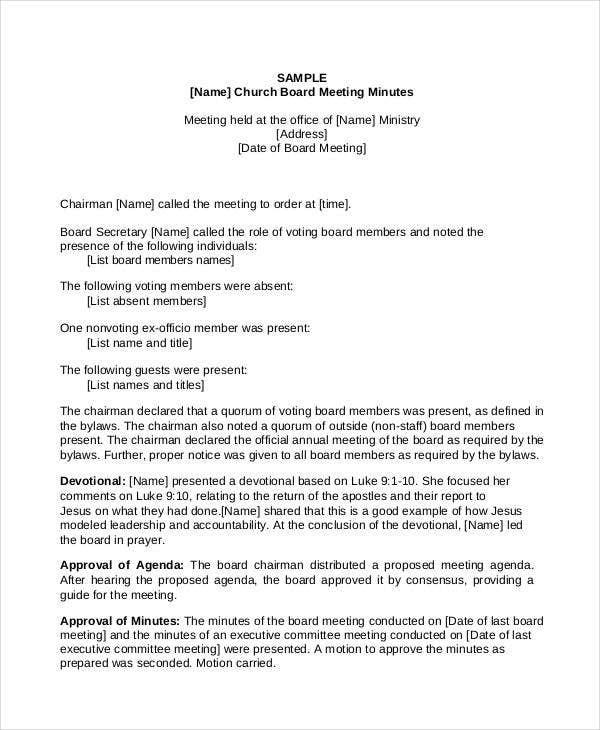 church board of directors meeting minutes template