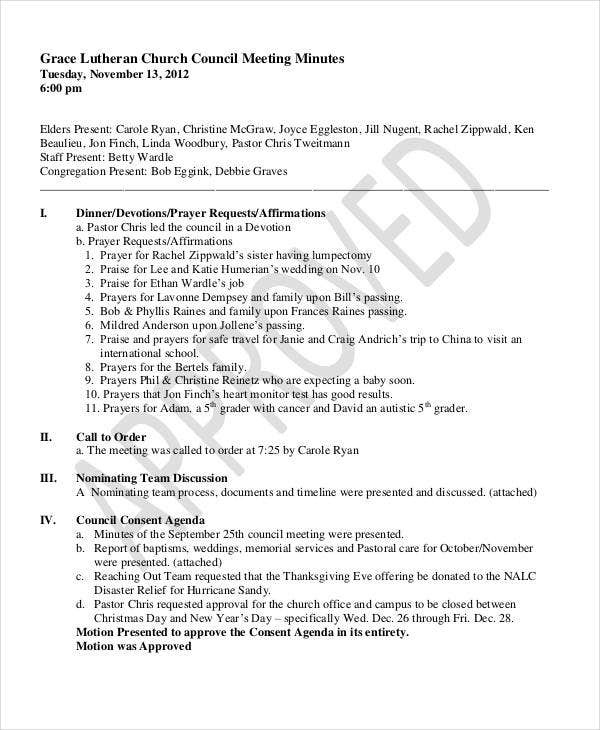 church council meeting minutes template2