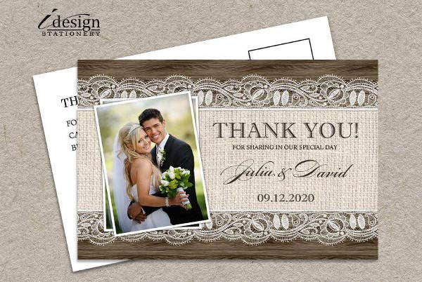 rustic wedding thank you card - Wedding Thank You Cards