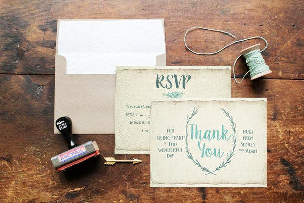 Rustic Background Thank You Card