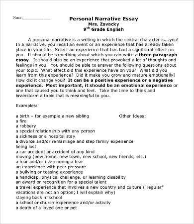 Proposal Essays Personal Experience Narrative Essay Example Thesis Statement For Essay also Essay About Learning English Personal Experience Narrative Essay Example Th Hour Essay Yellow Wallpaper Essays