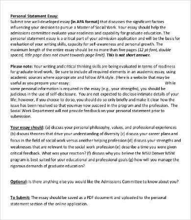 personal essay word pdf documents  personal statement essay template