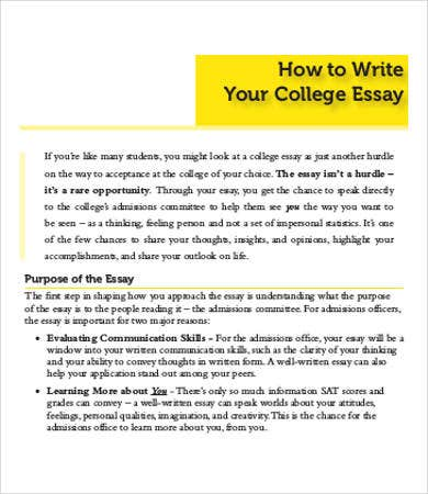 sample admission essays