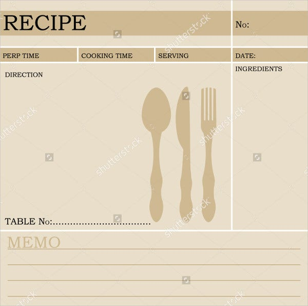 restaurant recipe card template