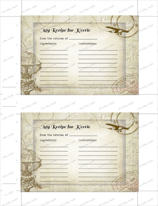 travel recipe card template