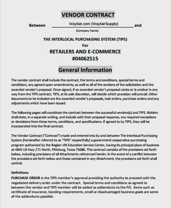 retail terms and conditions template - 9 vendor contract template free premium templates