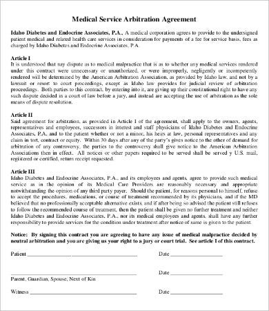 Arbitration Agreement Template   Free  Documents Download