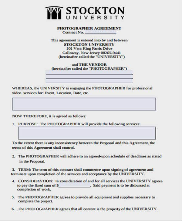 Photography Vendor Contract Template