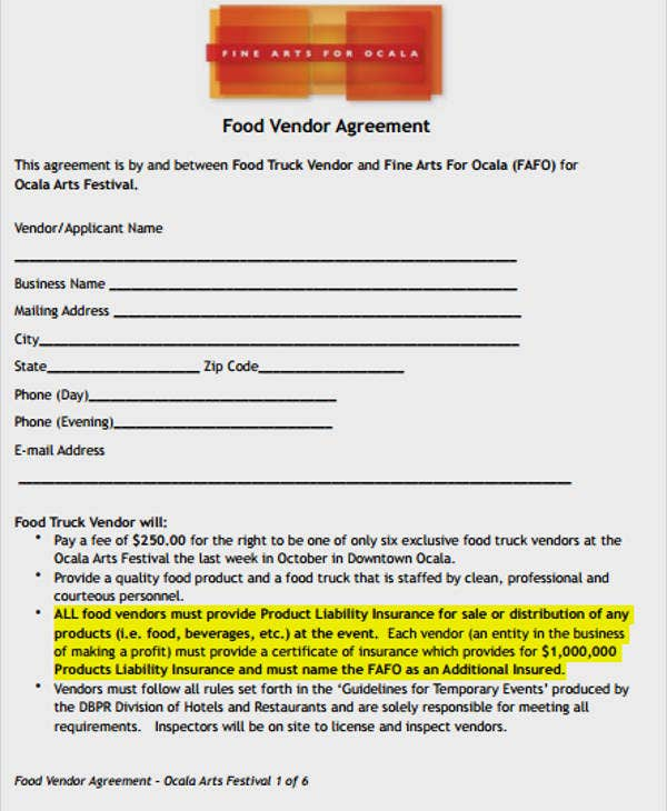 Vendor Contract Template – Food Vendor Contract