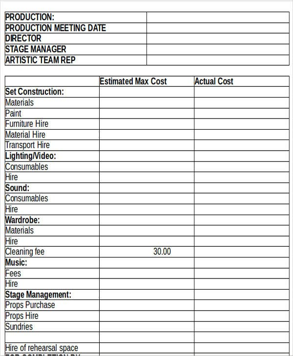 Production Budget Templates Free Premium Templates